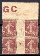 Semeuse 20 C Brun-rouge Millésime  0  Bloc Avec GC - Millésime