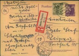 1945, Bedarfs Fern-R-Karte Ab BERLIN TREPTOW 11.1.45 Nach Leipzig - Zone Soviétique