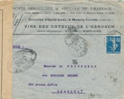 """Semeuse N°140 DESTINATION SHANGHAÏ CHINE - Obl """" MAISON-CARRÉE ALGERIE 14/10/16 """"  Lettre à En-tête """" VINS DES COTTEAUX - Postmark Collection (Covers)"""