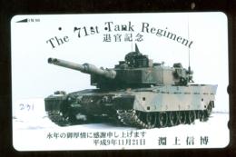 Télécarte JAPON * WAR TANK (231) MILITAIRY LEGER ARMEE PANZER Char De Guerre * KRIEG * JAPAN Phonecard Army - Armée