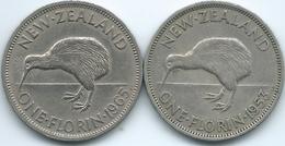 New Zealand - Elizabeth II - Florin - 1953 (KM28.1) & 1965 (KM28.2) With & Without Shoulder Strap - New Zealand