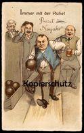 ALTE POSTKARTE KEGELN PROSIT NEUJAHR KEGEL IMMER MIT DER RUHE Jeu De Quilles Quille Ninepins Bowling Cigar Humor Humour - Ansichtskarten
