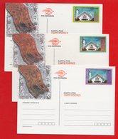 3x Indonesia Post Card 1998. Katedral Timor Timur Mint Rare - Indonesia
