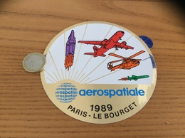 AUTOCOLLANT, Sticker «aerospatiale 1989 PARIS - LE BOURGET» (avion, Hélicoptère, Fusée) - Stickers