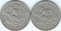 New Zealand - Elizabeth II - Shilling - 1953 (KM27.1) & 1964 (KM27.2) With & Without Shoulder Strap - New Zealand