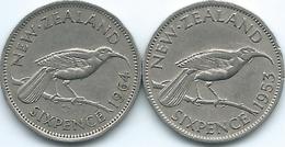 New Zealand - Elizabeth II - 6 Pence - 1953 (KM26.1) & 1964 (KM26.2) With & Without Shoulder Strap - Nouvelle-Zélande