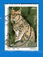 Italia °- Anno 2002 - FLORA E FAUNA - LINCE . USATO. Unif 2691.  Vedi Descrizione - 6. 1946-.. Repubblica