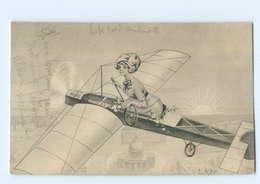 Y9624/ Frau Im Flugzeug Schöne Künstler AK  Sign: E. LeSur Ca.1915 - Illustrateurs & Photographes