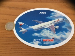 AUTOCOLLANT, Sticker «AIR INTER - A320» (avion, Compagnie Aérienne) - Stickers