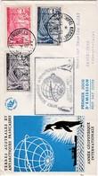 TAAF PREMIER JOUR 1957  8 + 9 + 10 Année Géophysique Internationale Kerguelen 04-11-1957 - FDC