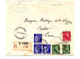 Lettre Recommandee Saint Pons Sur Paix Mercure - Marcophilie (Lettres)