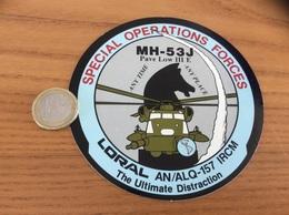 AUTOCOLLANT, Sticker «LORAL - AN/ALQ-157 IRCM - SPÉCIALES OPÉRATIONS FORCES - MH-53J » (hélicoptère, Armée De L'air) - Stickers