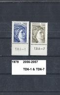 Timbre 1978 Neuf ** Y&T N° 2056 En TD6-1 & 2057 En TD6-7 - 1977-81 Sabine Of Gandon
