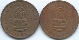 New Zealand - Elizabeth II -½Penny - 1953 (KM23.1) & 1965 (KM23.2) With & Without Shoulder Strap - New Zealand