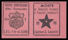 Italia - Comitato Liberazione Nazionale - Alto Varesotto - 1-8-44 Luino - Lire 5 - 4. 1944-45 Repubblica Sociale