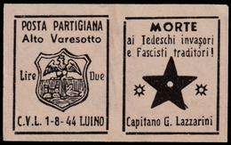 Italia - Comitato Liberazione Nazionale - Alto Varesotto - 1-8-44 Luino - Lire 2 - 4. 1944-45 Repubblica Sociale