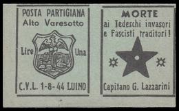 Italia - Comitato Liberazione Nazionale - Alto Varesotto - 1-8-44 Luino - Lire 1 (B) - 4. 1944-45 Repubblica Sociale