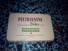 Publicitè Boîte Lithographié En Métal Médicaments Pates Pectorale Pectojuvène Cooperative Pharmaceutique De Melun - Boxes