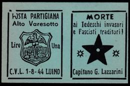 Italia - Comitato Liberazione Nazionale - Alto Varesotto - 1-8-44 Luino - Lire 1 - 4. 1944-45 Repubblica Sociale