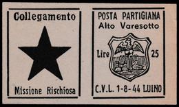Italia - Comitato Liberazione Nazionale - Alto Varesotto - 1-8-44 Luino - Lire 25 - 4. 1944-45 Repubblica Sociale