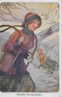 AK 0260  Herzliche Neujahrsgrüsse - Wintersport ( Rodeln ) Um 1920 - Neujahr