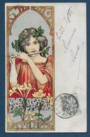 Carte Art Nouveau - Femme & Décor Floral Jugendstil Vers 1900 - Illustratori & Fotografie