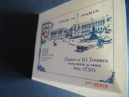 """Carnet Croix Rouge 1914-1918 Ville De Paris Avec 8 Vignettes """"monuments De Paris"""", Dont Notre Dame MNH Voir Scan - Red Cross"""