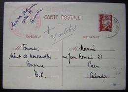 1944 Cachet Croix Rouge Française Sur Carte Entier Postal De Pétain 1.20frs - Postmark Collection (Covers)