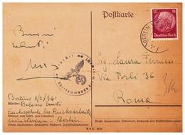 GERMANIA TERZO REICH58) 1941 Storia Postale Postkarte Da Berlino Per Roma Timbro Con Simbolo Nazista - Storia Postale