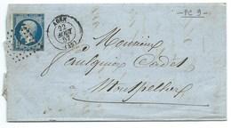N° 14 BLEU NAPOLEON SUR LETTRE / AGEN POUR MONTPELLIER / 22 AOUT 1857 - Storia Postale