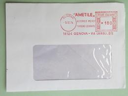 """Italia, """"AMETILE-Accordo Merci Tirreno Levante"""", Affr. Mecc., Meter, Ema, Trasporti, Commercio, 1974 (frammento) (DZ) - Affrancature Meccaniche Rosse (EMA)"""