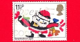 INGHILTERRA - GB - GRAN BRETAGNA - Usato - 1981 - Natale - Christmas - Babbo Natale - Disegno Di Bambini - 11 ½ P - 1952-.... (Elisabetta II)