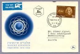 Israel 1956 FDC Albert Einstein Commemoration Physicist Physiker Nobelpreis Nobel Prize Winner Science - Albert Einstein