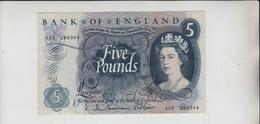 AB698. Bank Of England £5 Banknote Series C Portrait Series 1963-73  Hollom #A02 286304 FREE UK P+P - 1952-… : Elizabeth II
