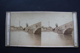 2 Vues Stéréoscopiques :colonne Charles Félix Bonneville + Pont De Rumilly Près De Bonneville (Savoie) - Old (before 1900)