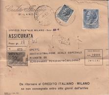 1957 Busta Viaggiata Con Affrancatura Multipla (2 Bolli) Perfin Credito Italiano - 6. 1946-.. Repubblica