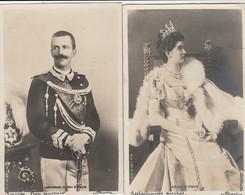 2 CPA GLACÉES:ROI ITALIE EMMANUEL III,REINE ITALIE..ÉCRITES - Royal Families
