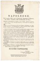 NAPOLEONE-REGNO D'ITALIA- EUGENIO NAPOLEONE-DIVIETO DI MENDICITA'-20/08/1808-(A3/05/33) - Décrets & Lois