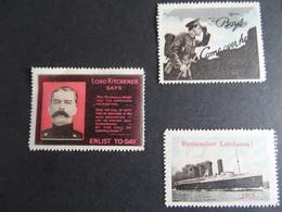Grande Bretagne Cinderellas Propagande Militaire Lord Kitchener, Remember Lusitania 1915 Et Boys Come Over Here.(3) MNH - Cinderellas