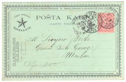 NICE Alpes Maritimes Semeuse Lignée 10c Semeuse Ligne Yv 129 Carte Postale ESPERANTO POSTA KART Dest Menton Ob 1906 - 1877-1920: Semi-Moderne