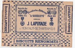 Montaut-Bétharram (64 Pyrénées Atlantiques) Emballage Carton (neuf)^biscuits LE SUCCULENT  De J LAPUYADE  (PPP10827) - Publicités