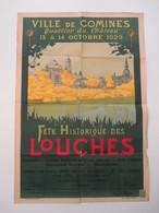 VP AFFICHE 65cm X 94cm (V1912) COMINES Quartier Du Château ( 5 Vues) Fêtes Historiques Des Louches 13 & 14 Octobre 1929 - Afiches