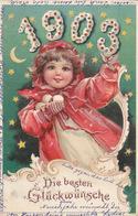 1903 - Die Besten Wünsche - Gegenlichtkarte (Sterne & Mond) - 31.12.1902        (A-85-160915) - Halt Gegen Das Licht/Durchscheink.