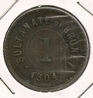 SULTANATE OF BRUNEI ONE CENT 1886 AH1304 RARE ET RARE ETAT - Brunei