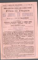 (chemins De Fer) Fêtes De Pâques, 15 Jours En Espagne  1892 (PPP18765) - Europe