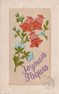 CPA Brodée Cloche Bell Glocke Campana Sino Joyeuses Pâques  (2 Scans) - Embroidered