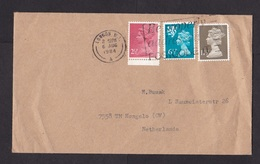 UK: Cover To Netherlands, 1984, 3 Stamps, Machin, 1x Regional Issue (creases, Right Stamp Damaged) - 1952-.... (Elizabeth II)