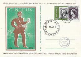 Luxembourg - Exposition Centenaire Des Imbres-Poste 1852-1952 - Fédération Des Sociétés Philatéliques Grand Duché - Luxembourg