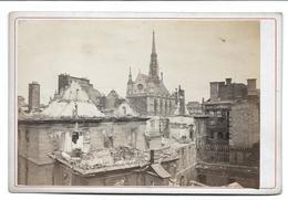 Paris Ruines 1871 Sainte Chapelle Et Palais De Justice   Photo   16x11 Sur Carton - Lieux