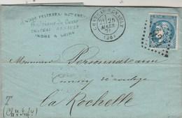Yvert 46 B TTB Sur Lettre CHATEAU RENAULT Indre Et Loire GC 924 25/3/1871 à La Rochelle - Marcophilie (Lettres)